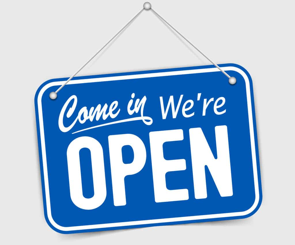 Come in, we are open!